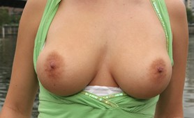 Alison Angel shows off her big tits in public