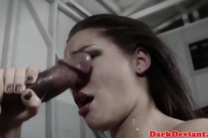 Interracial cocksucker throated by BBC master till she gags