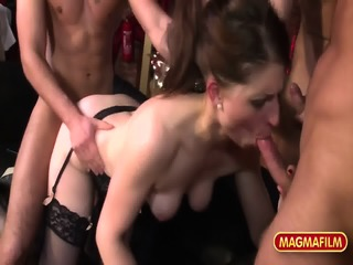 Attractive Lady With Stockings Gets Gang Banged
