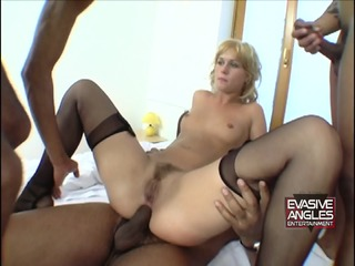 Black Cocks In Blonde Slut