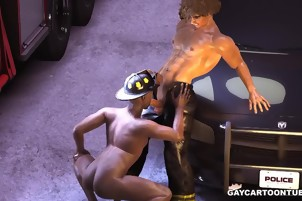3D cartoon ebony fireman taking a hard white cock in his ass