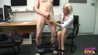 CFNM blonde secretary Krystal Niles plays with her assistant's big dick