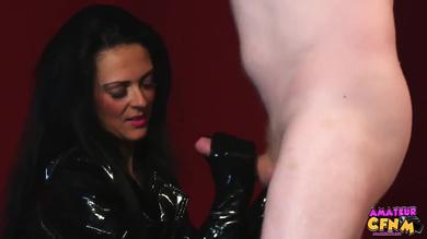 CFNM femdom action with amateur latex mistress and humiliated slave man
