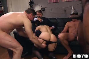 Hot wife bdsm gangbang with cumshot