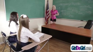 Lesbian teacher licked by her students