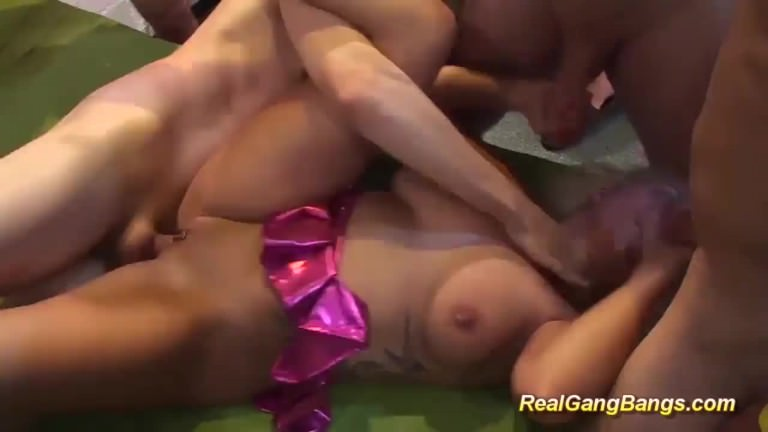gangbang orgy with busty tattooed milf