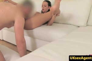 Skinny casted brit gets pussy-fingered and pussy-eaten by agent