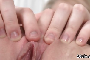 Cuddly cutie is gaping yummy snatch in close-up and getting o