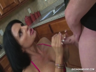 Rough Handjob In The Kitchen