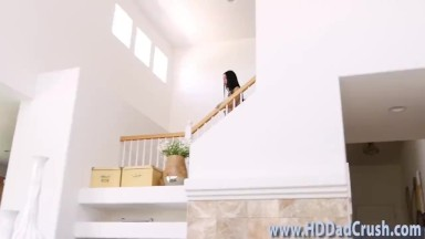 Asian stepdaughter strokes and rides