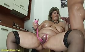 BBW blonde babe playing with toys and fucking with guy