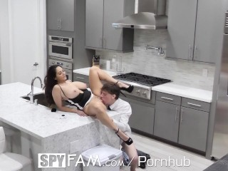 SpyFam Step mom Ava Addams mounts broken hearted step son on valentines day