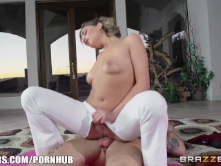 brazzers, stretching, brunette, natural, massage, oil, pussy licking, yoga,
