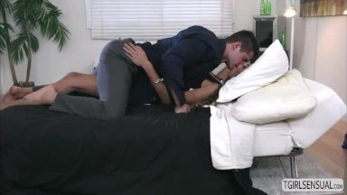 super-hot tranny chinese Venus Lux gives hunks hard dick a oral sex