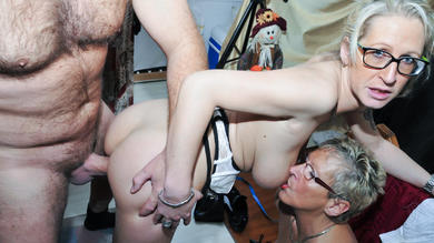 blonde german grannie and 40s wide share salami in inexperienced ffm threesome