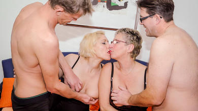 blonde newcomer in her 40s and grandmother bang in first-timer mature foursome
