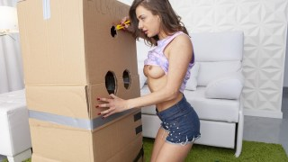 russian stunner sandra wellness makes a portable glory hole