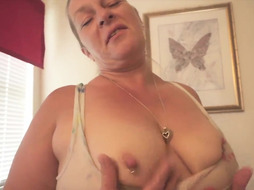 mischievous ash-blonde 50 year elder milf with fat arse does humid t t t-shirt striptease