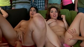 amateur honeys at lezzie fuck stick humping party