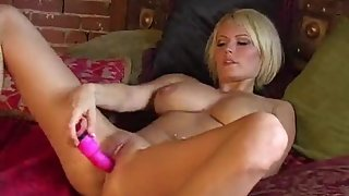 blonde gets bare and embarked tugging with her cunt