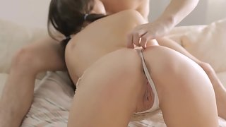 pigtail teenie with beautiful backside blows solid pipe on bed