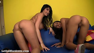pretty brunette woman with her step mummy love stiff core activity on the couch