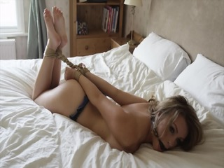 Tied Babe On Bed