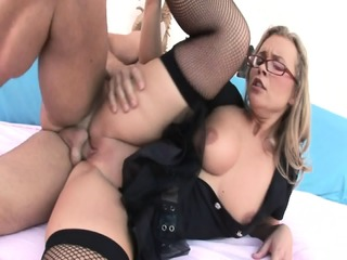Slut With Glasses Fucked In All Holes