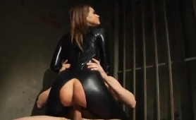 Tori Black in black leather