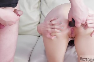 He pokes her asshole with multiple toys throat-fucking her