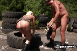 Blown away idol in lingerie is geeting peed on and penetrated