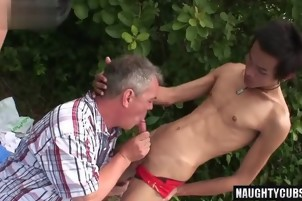 Asian son piss with cumshot