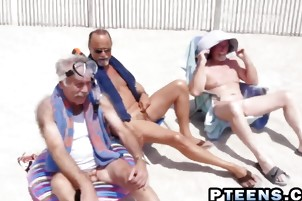 Tanned Latina Seduced By Older Studs Into Pummeling