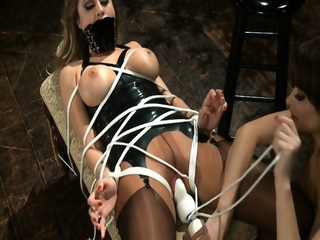 Tied Chick Gets Stimulated