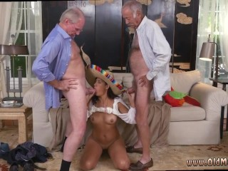 Kinky old man and old granny fucks young guy and old/ young blonde anal