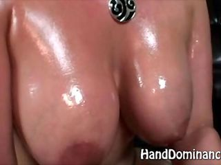 Busty babe is milking real hard on the dick