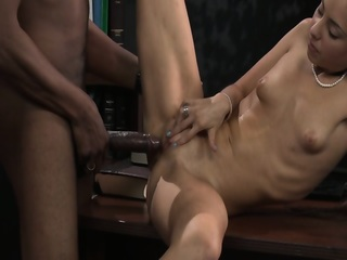 Flat Chested Girl Rides On Big Black Cock