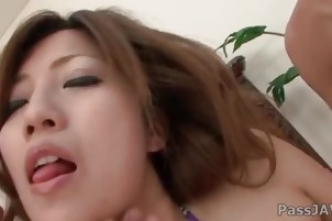 Misaki Aibas cute Japanese curves are devoured by horny guys