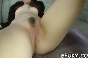 Hairy Asian cunt squirts when finger fucked hardcore