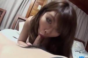 Amateur Anna Mibu spins the cock in perfect modes