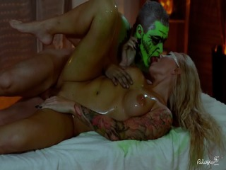 Relaxxxed - Hungarian Blonde Kayla Green Covered In Green Oil During Halloween Themed Fuck