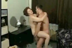 sporty grandma has fun with young guy