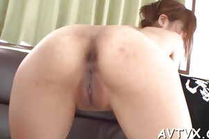 Stud is having raucous fun banging Asian chick's hairy cunt