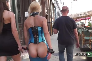 Blonde in dress with opened ass walks