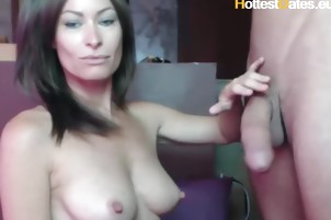Hot MILF sucking her stepson HUGE COCK