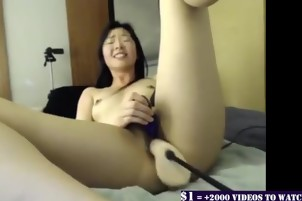 A busty girl with her sex machine