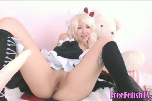 Blonde Asian Cosplay and Solofuck - FreeFetishTVcom
