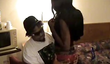 Black tgirl getting fucked in the ass by her black boyfriend