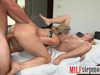 Brandi Love and Taylor Whyte hot 3some on massage table