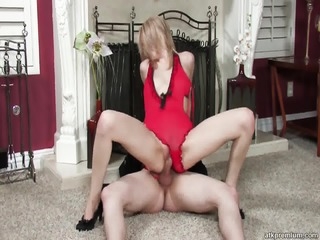Blonde With Sexy Suit Rides Dick